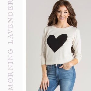 Morning Lavender Heart Fitted Sweater NWT